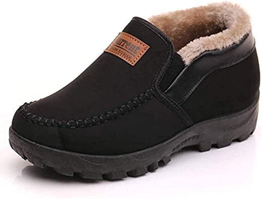 Men's Moccasins Slippers Slip on Plush Loafers Warm Fur Lined Walking Driving Shoes Indoor Outdoor Short Boot Winter Snow Boots