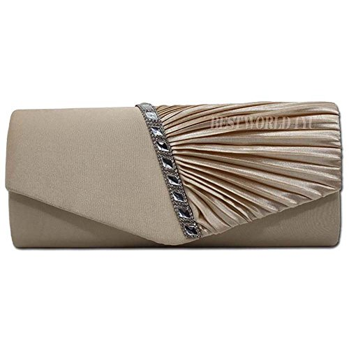 Wocharm Crystal Evening Womens Pleated Studded Handbag Bridal Womens Prom Satin Fashion Purse Wedding Bag Shoulder Clutch HandBags Apricot rrwqEY