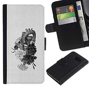Billetera de Cuero Caso Titular de la tarjeta Carcasa Funda para Samsung Galaxy S6 SM-G920 / Heart Drawing Pencil Flowers / STRONG