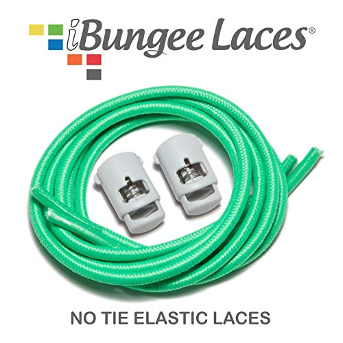 - iBungee Laces (Elastic No Tie Shoelaces) Stretch Laces With Lace Locks - Sized For Neat Fit, Easy Installation (Made in the USA), (Florida Green, 38-Inch)