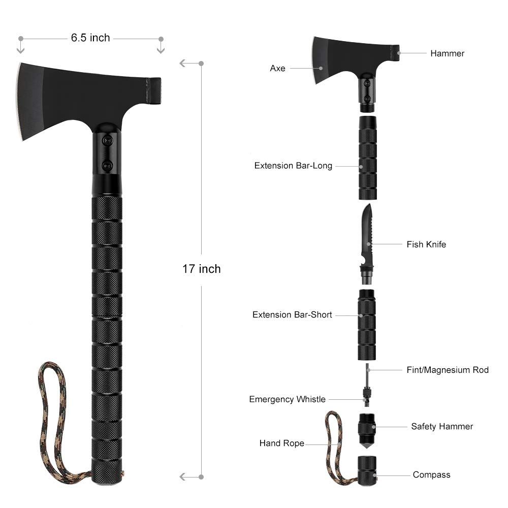 LIANTRAL Survival Axe Folding Portable Camping Axe Multi-Tool Hatchet Survival Kit Tactical Tomahawk for Outdoor Hiking Hunting by LIANTRAL (Image #2)