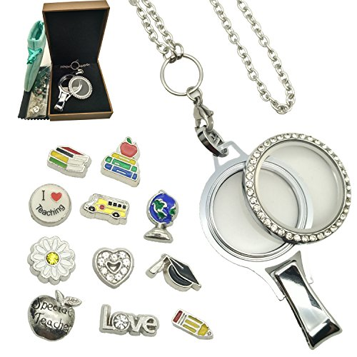 Doingo School Locket Charm Lanyard Teacher Bus Driver ID Identity Badge Holder Clasp Twist Open Glass Necklace Lanyard with Badge Holder Christmas Xmas Gift Lanyard Jewelry Pendant Present (Screw) ()