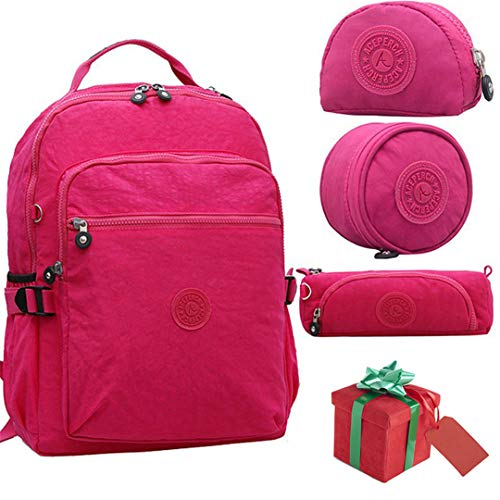 Red Nylon New School Girl Boy Original Set 4 of Waterproof Pieces Backpack xqgFwZPp