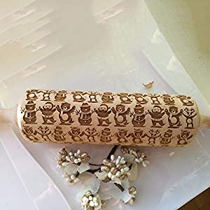 Harpi Natural Wood Rolling Pin,Christmas Wooden Engraved Embossing Rolling Pin Embossed Kitchen Tool