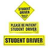 "Automotive : Set of 3 ""Please Be Patient Student Driver"" Safety Sign Vehicle Bumper Magnet - Reflective Vehicle Car Sign Sticker Bumper for New Drivers"