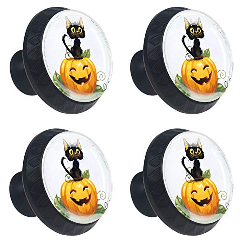 Anmarco Black Cat On Halloween Pumpkin Drawer Knobs Pull Handles 30MM 4 Pcs Glass Cabinet Drawer Pulls for Home Kitchen Cupboard ()
