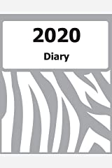 "2020 Diary: Large Print, (Grey Zebra Pattern Cover) - 8"" x 10"" - Months, Important Dates, Weekly Planner - Simple layout. Large Print. Easy to use for visually impaired Paperback"