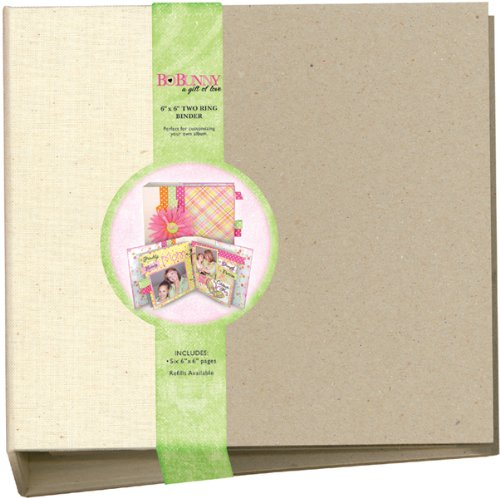 Bo Bunny 2-Ring Bare Naked Binder 6-Inch by 6-Inch with 6 Chipboard Pages ()