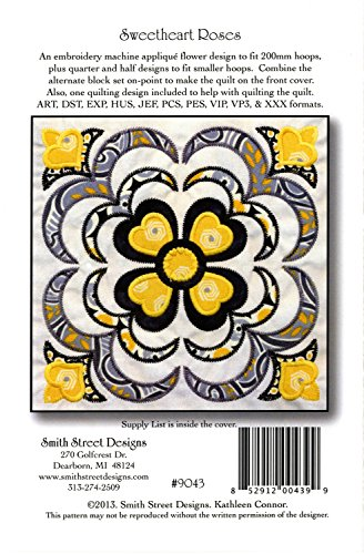 Sweetheart Roses Embroidery Machine Applique Design with CD by Smith Street Designs