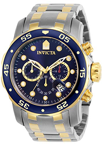 Invicta Men's 0077 Pro Diver Chronograph Blue Dial Watch 18k Yellow Gold Pin