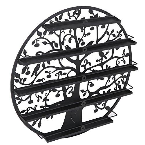 Smartxchoices 5 Tier Nail Polish Holder Rack Wall Mounted Salon Home Essential Oils Storage Display Shelf Metal Tree Round DIY Wall Art (Black,Large) (Polish Nail Phone Case)