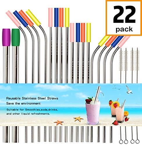 Reusable Metal Straws Drinking Straws For Smoothie Wide Diameter Straw 20oz 30oz 40oz Tumblers Stainless Steel Straws ()