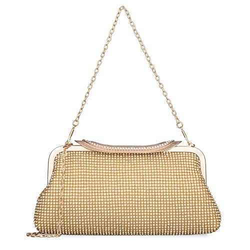 Rhinestone Womens Gold Crystal Wedding Dazzling Handbag Bags Purse Evening Fqq7EAr