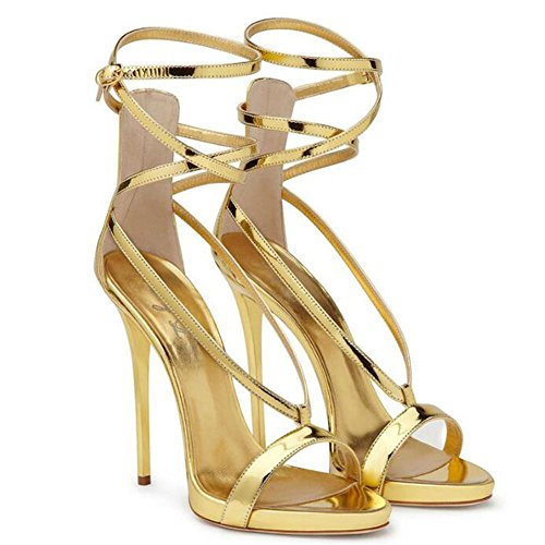 YC Banding Exposed Shoes Leather Heeled 45 Toe Stripes Patent GL Sandals And yellow Gold Silver Women'S High gxOpO