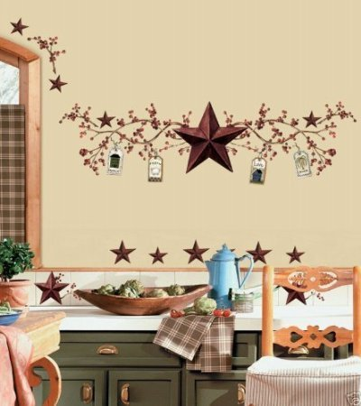 COUNTRY STARS BERRIES Wall Stickers Decal Decor Rustic (Wall Rustic Decals)