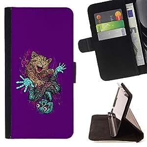 BullDog Case - FOR/LG G3 / - / wild cat skeleton zombie art drawing feline /- Monedero de cuero de la PU Llevar cubierta de la caja con el ID Credit Card Slots Flip funda de cuer