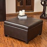 Sabrina Brown Leather Storage Ottoman / Coffee Table