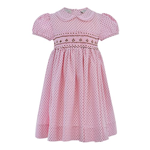 Hand Smocked Girls Dress - Carriage Boutique Baby Girls Hand Smocked Short Sleeve Dress, 6Y