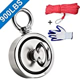 Double Sided Neodymium Fishing Magnet,Combined 900 lbs(408KG) Pulling Force Rare Earth Magnets with 20m (65 Foot) Durable Rope and Protective Gloves