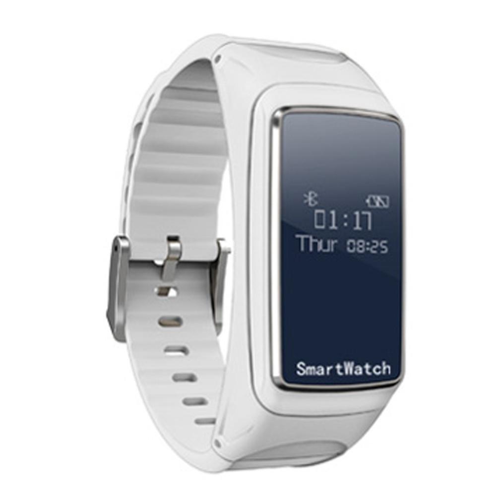 AutumnFall Smart Wristband, B2 Bluetooth Earphone Blood Oxygen Pressure Heart Rate Monitor Pedometer Smart Watch Bracelet (White)