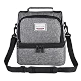 mayetori Lunch Box, Insulated Large Bag for Men, Woman, Kids, Reusable Tote Cooler Organizer for Travel, Work, Picnic, School (Grey)