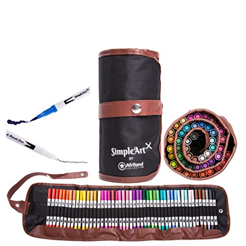 SimpleArt-Brush-Pens-and-Dual-Tip-Color-Art-Markers-Watercolor-Fine-Point-and-Fiber-Brush-Tip-Fineliner-Pens-Safe-Non-toxic-Water-Based-For-Kids-and-Adult-Coloring-48-Unique-Colors-in-Canvas-Bag