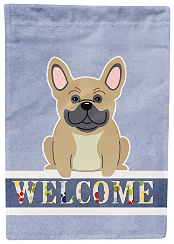 Caroline's Treasures French Bulldog Cream Welcome Flag Garden, Small, (Cream Flag)