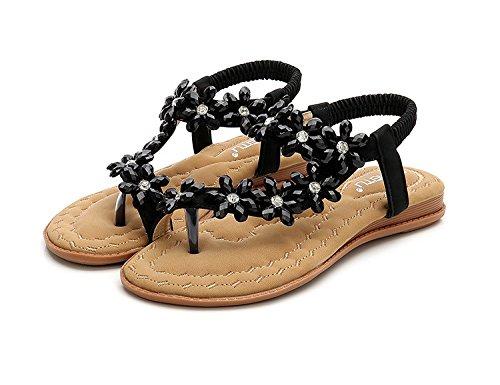 Sandalias con pie Diamantes de 1Color Dedo Cómodo Punta Yalanshop Planas comodines Imitación del de dwqHdZ0p