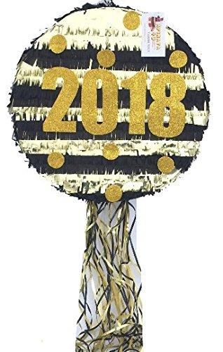 c10866f2e 2018 de año nuevo Piñata 40.6 cm negro y dorado Color  Amazon.com.mx ...