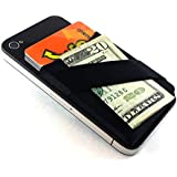 PhonePouch Credit Card ID Holder Stick On Adhesive Card Holder Wallet Case for iPhone and Android (Black)