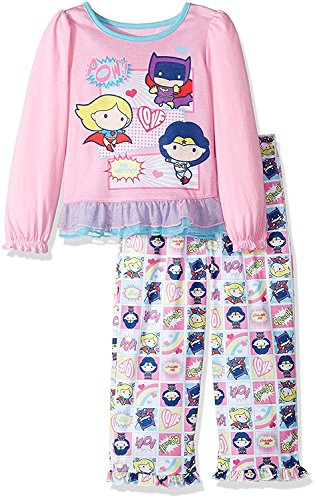 Komar Kids Justice League Pop Figure Superhero Girls Pajamas with Cape (4T, Pink) ()