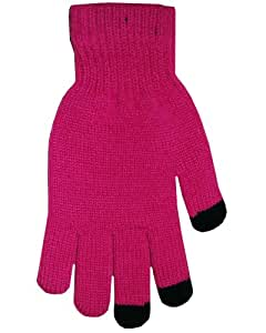 Boss Tech Products Knit Touchscreen Gloves with Conductive Fingertips for Use with All Touchscreen Electronic Devices - Hot Pink