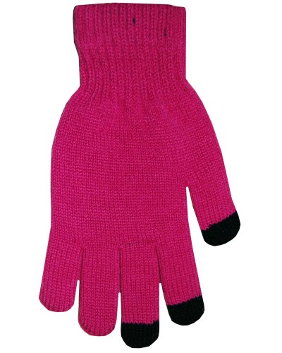 (Boss Tech Products Knit Touchscreen Gloves with Conductive Fingertips for Use with All Touchscreen Electronic Devices - Hot Pink)