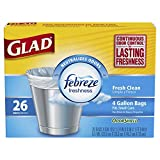 Glad OdorShield Small Trash Bags, Fresh Clean, 4 Gallon, 26 Count (Pack of 12)