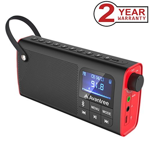 Avantree 3-in-1 Portable FM Radio with Wireless Speaker and SD Card Player, Auto Scan & Save, LED display, Rechargeable Battery - (Blk Usb Fm Radio)