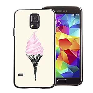 A-type Arte & diseño plástico duro Fundas Cover Cubre Hard Case Cover para Samsung Galaxy S5 (Ice Cream Eifel Tower Paris Art Pink France)