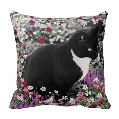 - FUNiNY BOY Freckles in Flowers Tuxedo Kitty Cat Decorative Home Decor Square Indoor/Outdoor Pillowcase Cotton Throw Pillow Cover Case 18 in