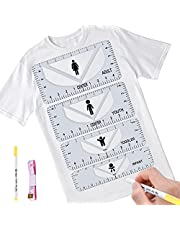 Tshirt Ruler Qoosea Sewing Tshirt Ruler Guide for Vinyl Alignment Making Fasion Center Designs T-Shirt Alignment Tool Adult Youth Toddler Infant PVC Sewing Ruler Transparent 2Pack