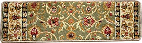 Dean Premium Carpet Stair Treads - Classic Keshan Sage 31 W (Set of 15) Plus a Matching Landing Hearth Mat 27 x 39 (2x3)