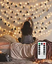 Photo Hanging Clips String, 40 LED Photo Clips String Lights 16.4ft Photo String Lights with Clips, 8 Modes Fairy Lights with Clips for Pictures, with Remote Timer Function for Photos Pictures Cards