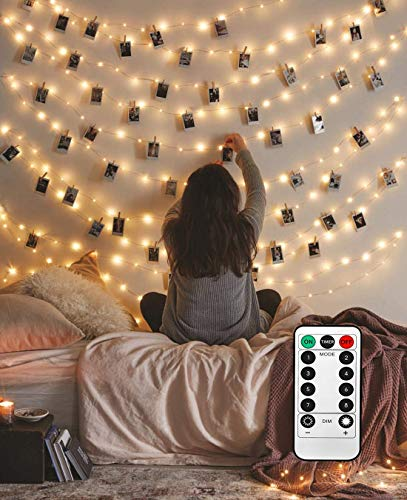 Photo Hanging Clips String, 40 LED Photo Clips String Lights 16.4ft Photo String Lights with Clips, 8 Modes Fairy Lights with Clips for Pictures, with Remote Timer Function for Photos Pictures Cards (Polaroid Glow In The Dark)