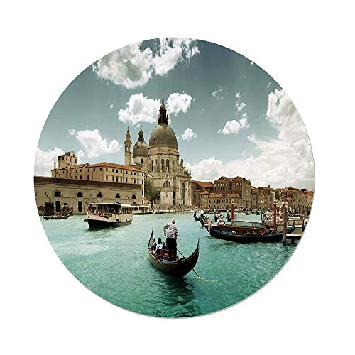 ecloth,Venice,Basilica Santa Maria della Salute by the Grand Canal Aerial View Image Decorative,Beige Turquoise Bluegrey,Dining Room Kitchen Picnic Table Cloth Cover,for Outdoor I ()