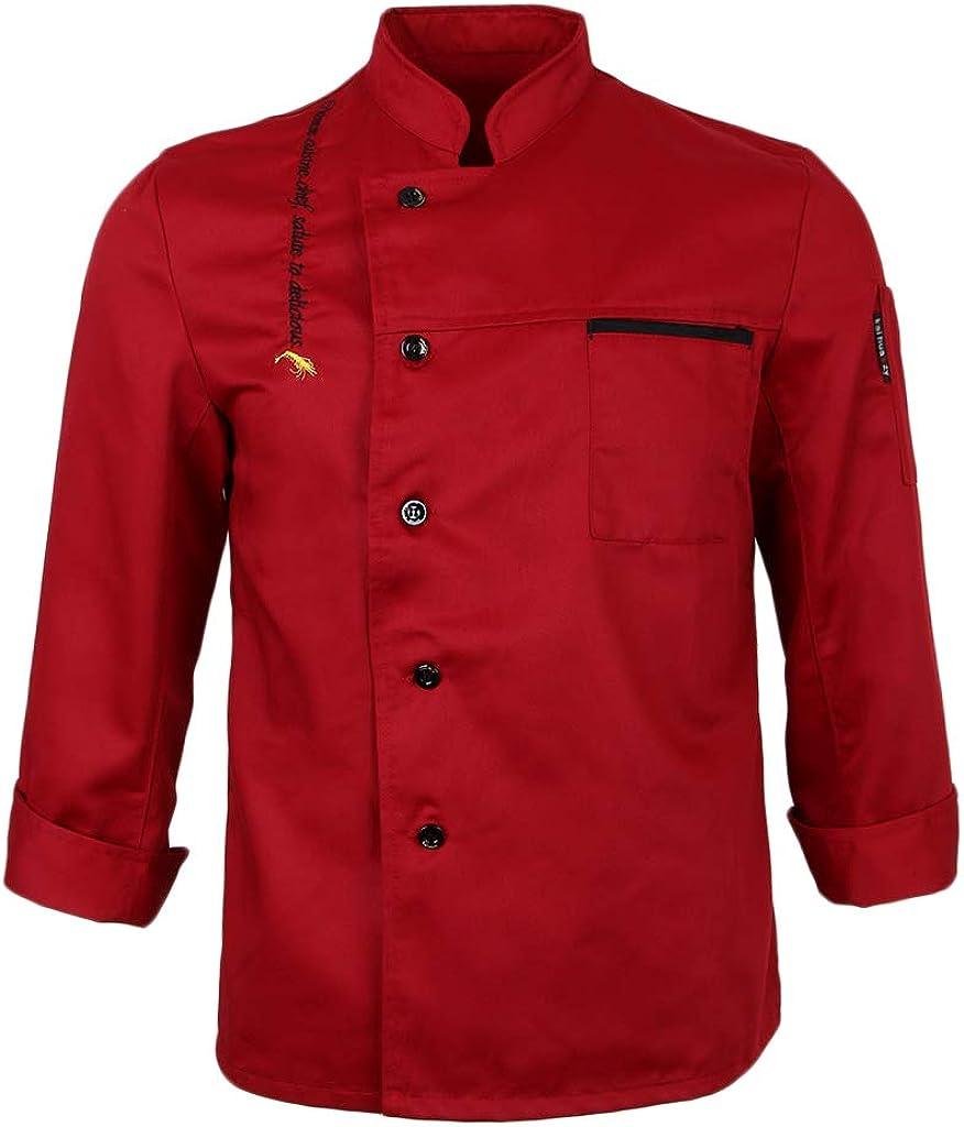 LoveinDIY Men Women Long Sleeve Chef Uniform Cook Jacket Food Service Work Wear