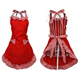 Marrywindix Kitchen Fashion Cute Sweety Cotton Grid Pattern Double Color Working Chefs Kitchen Cooking Cook Flirty Apron - with Bowknots Pockets Design (Red)