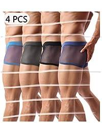 Men s Underwear Sexy Mesh Breathable Boxer Briefs Low Rise Cool Boxers Pack  Set 7e16818a1
