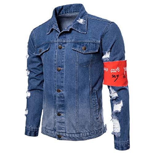 Mens Di Abbottonati Patchwork Sottile Difficoltà Montaggio Cappotto Blu Camicia In Energia Jeans Luce 8r6q8