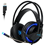 [2017 SADES R2 Gaming Headset], Gaming Headsets Headphones 7.1 Channel Virtual USB Surround Stereo Wired PC Over-Ear Stereo Bass With Mic Volume Control Noise Canceling LED For PC Laptop Mac Mobile