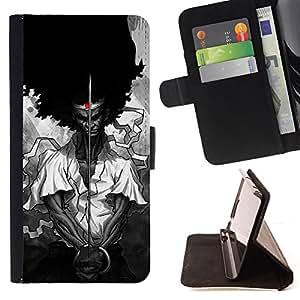 BullDog Case - FOR/LG Nexus 5 D820 D821 / - / samurai black freedom rights Ferguson /- Monedero de cuero de la PU Llevar cubierta de la caja con el ID Credit Card Slots Flip funda de cuer