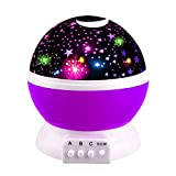 Tisy Toys for 7-8 Year Old Boys Girls, Wonderful Quiet Rotating Star Night Light Projector Toys for 2-10 Year Old Girls Romantic Magical Gifts for 2-10 Year Old Boys Purple TSUKXK02