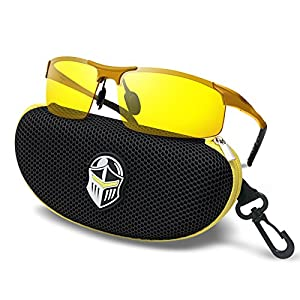 BLUPOND Night Driving Glasses - Anti-glare HD Vision - Yellow Tint Polycarbonate Lens - Safety Sunglasses for Men and Women Plus Car Clip Holder (Gold, Yellow)